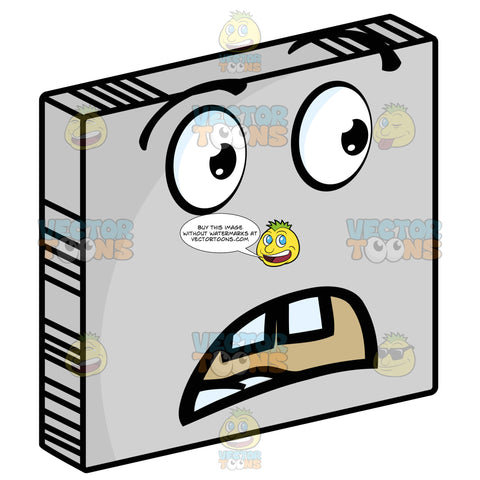 Troubled Smiley Face Emoticon, Frowning, Open Red Mouth On Grey Square Metal Plate Tilted Right