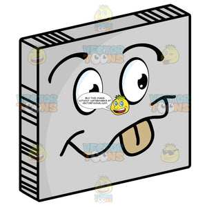 Playful Smiley Face Emoticon Sticking Out Tongue, Smile, Happy On Grey Square Metal Plate Tilted Right