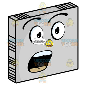 Surprised Smiley Face Emoticon With Open Mouth And Raised Eyebrows In Surprise On Grey Square Metal Plate Tilted Right
