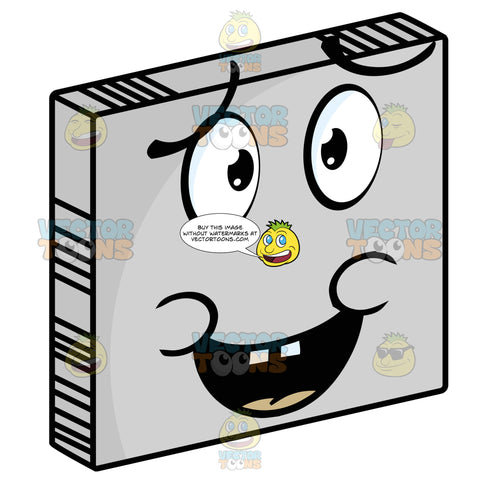 Apologizing Smiley Face Emoticon With Open Mouth, Buck Teeth, Lowered Eye Brows, Saying Sorry On Grey Square Metal Plate Tilted Right