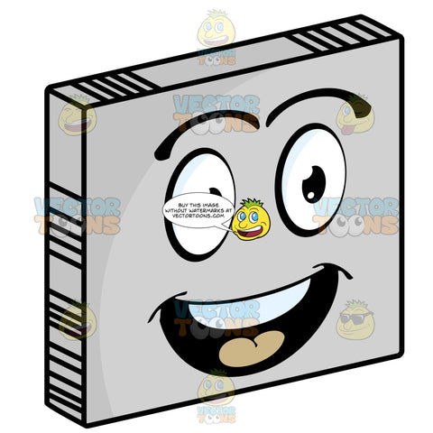 Thrilled Smiley Face Emoticon With Open Mouth, Red Tongue, Raised Eyebrows And Straight White Teeth, Looking Right On Grey Square Metal Plate Tilted Right