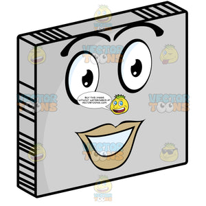 Pretty Female Red Lipped Smiley Face Emoticon Looking Straight Ahead On Grey Square Metal Plate Tilted Right