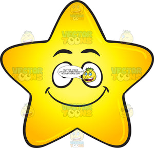 Single Gold Star Cartoon With Happy Face Emoji