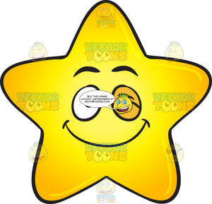 Single Happy Winking Gold Star Cartoon Emoji
