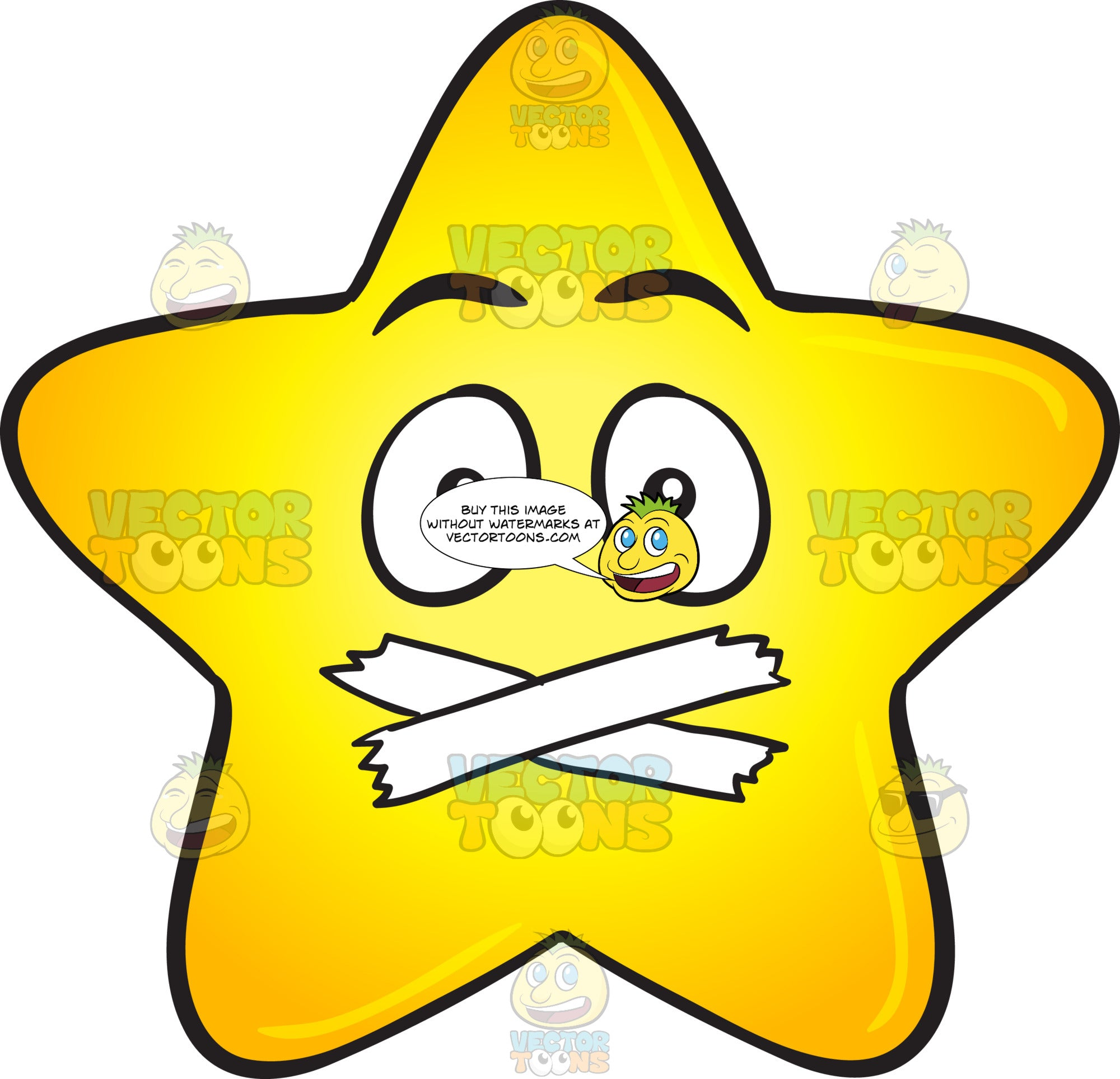 Single Gold Star Cartoon With Taped Mouth Emoji