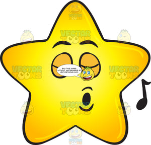 Single Gold Star Singing Pleasureably Emoji