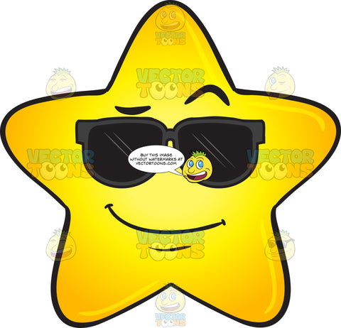Cool Gold Star Wearing Sunglasses Emoji