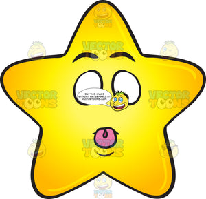 Silly Single Gold Star With Tongue Stuck Out Emoji