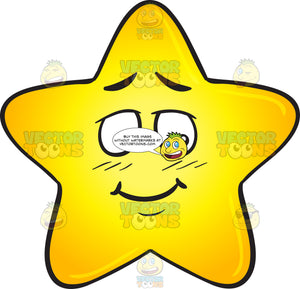 Shy Single Gold Star Cartoon Emoji