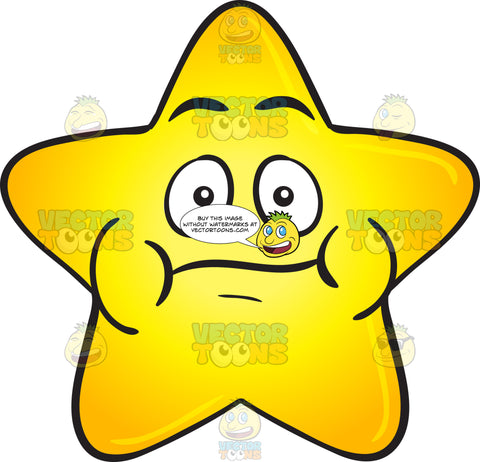 Single Gold Star Cartoon With Puffy Cheeks Emoji
