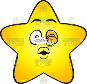 Single Gold Star Cartoon Blowing A Kiss And Winking Emoji