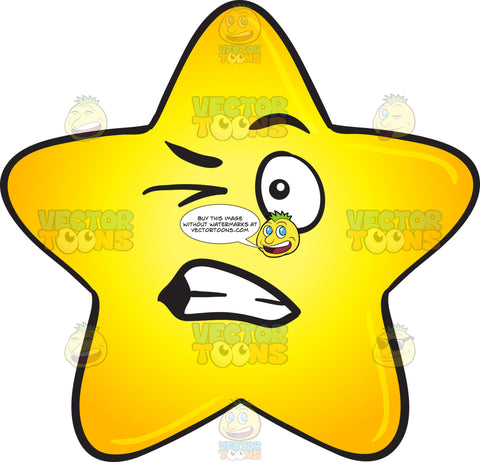 Single Gold Star With Harassed Look On Face Emoji