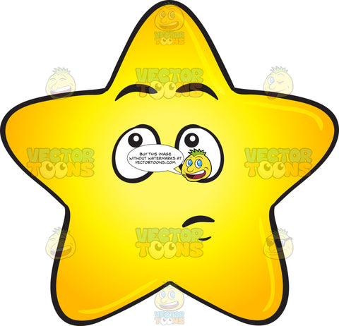 Single Gold Star Cartoon With Wondering Look On Face Emoji