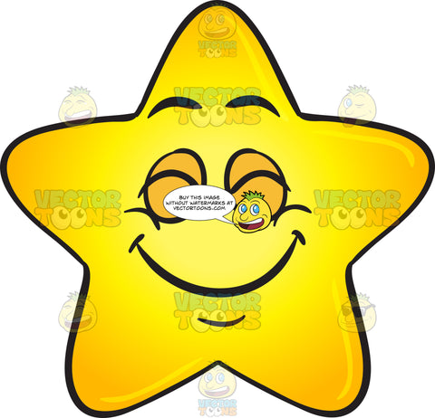 Single Gold Star Cartoon Delighted With Satisfaction Emoji