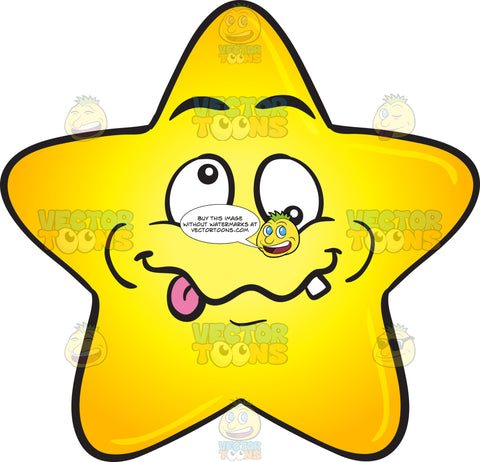 Crazy-Looney Single Gold Star Cartoon Emoji