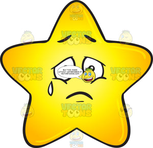 Single Gold Star Cartoon Expressing Sadness With Teardrop Emoji