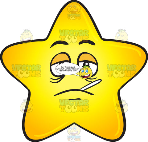 Sick Looking Gold Star Cartoon With Thermometer On Mouth Emoji