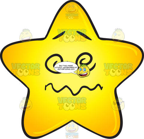 Dazed And Confused Single Gold Star Cartoon Emoji