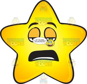 Single Gold Star Cartoon Feeling And Looking Bored Emoji