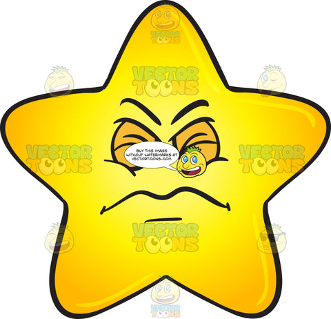 Single Gold Star Cartoon Expressing Disgust Emoji