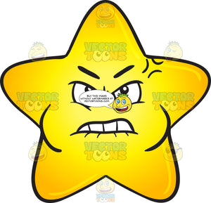 Single Gold Star Cartoon Looking Mad And Bruised Emoji