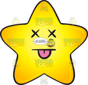 Knocked Out Gold Star Cartoon Emoji
