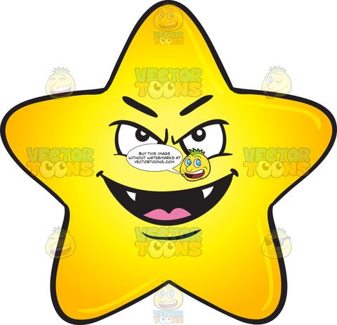 Single Gold Star Cartoon Grinning Naughtily With Fangs Emoji