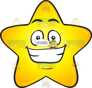 Gold Star Cartoon With Cheesy Big Grin Emoji