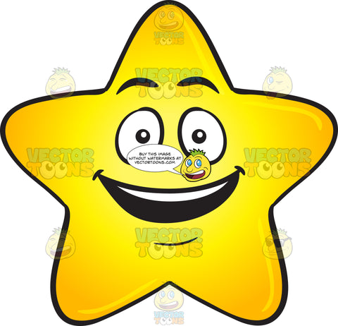 Gold Star Cartoon With Bright Look On Face Emoji
