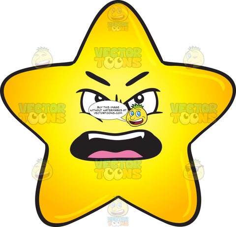 Outraged And Angry Gold Star Cartoon Emoji