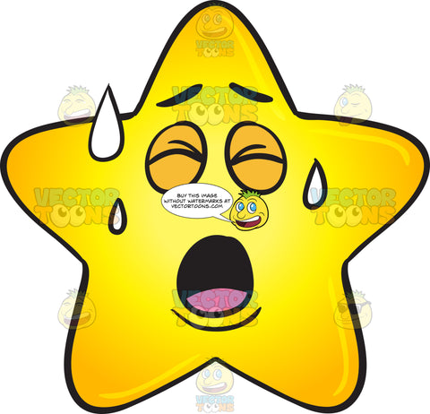 Gold Star Cartoon Sweating In Pain Emoji