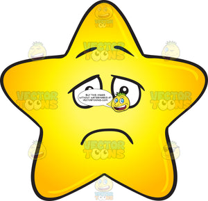 Single Gold Star Cartoon With Depressed Look On Face Emoji