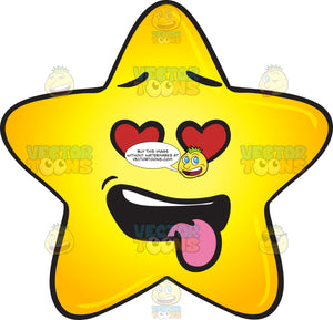 Love Struck Gold Star Cartoon With Hanging Tongue Emoji