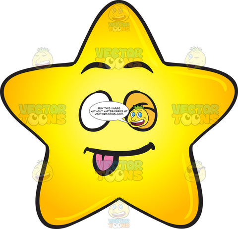 Winking Gold Star Cartoon With Stuck Out Tongue Emoji