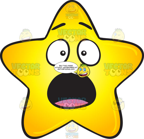 Startled And Shocked Gold Star Cartoon Emoji