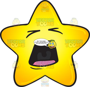 Screaming Gold Star Cartoon Emoji