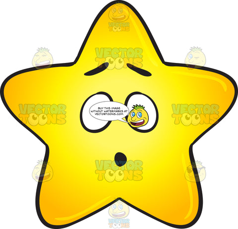 Gold Star Cartoon Dumbfounded And Surprised Emoji