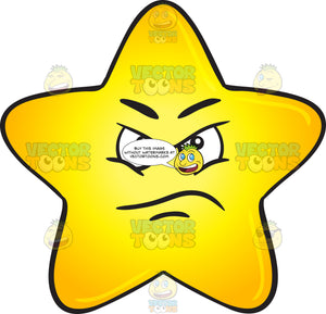 Upset And Angry Gold Star Cartoon Emoji