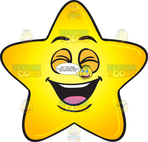 Laughing Gold Star Cartoon Emoji
