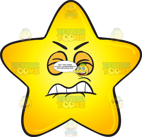 Irritated And Disgruntled Gold Star Cartoon Emoji