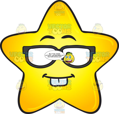 Nerd Looking Gold Star Cartoon Wearing Eye Glasses Emoji