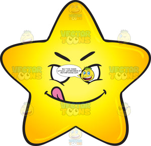 Mischievous Looking Single Gold Star Cartoon With Stuck Out Tongue Emoji