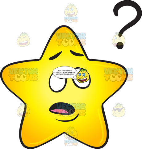 Clueless Gold Star Cartoon Looking At Floating Question Mark Emoji