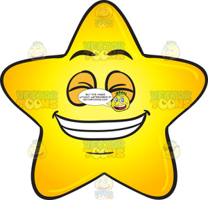 Gold Star Cartoon Smiling Wide With Set Of Pearly Whites Emoji