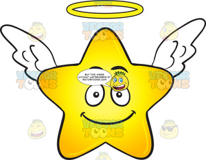 Smiling Gold Star Cartoon With Halo And Wings Emoji