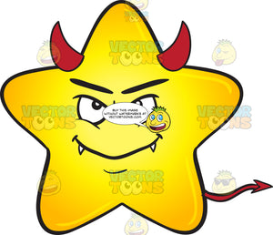 Gold Star Cartoon Smiling With Fangs, Horns And Tail Emoji