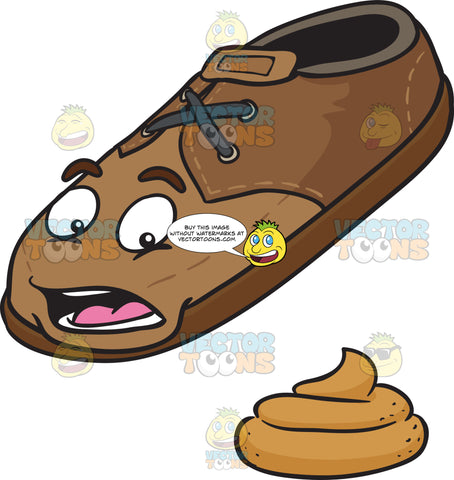 Stool Beside Grossed Out Brown Shoe Emoji