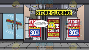 Storefront Of A Shop Going Out Of Business Background. Glass windows of the front of a store with a big yellow sign with the words store closing on it, and three big red signs with the words store closing and everything must go on them