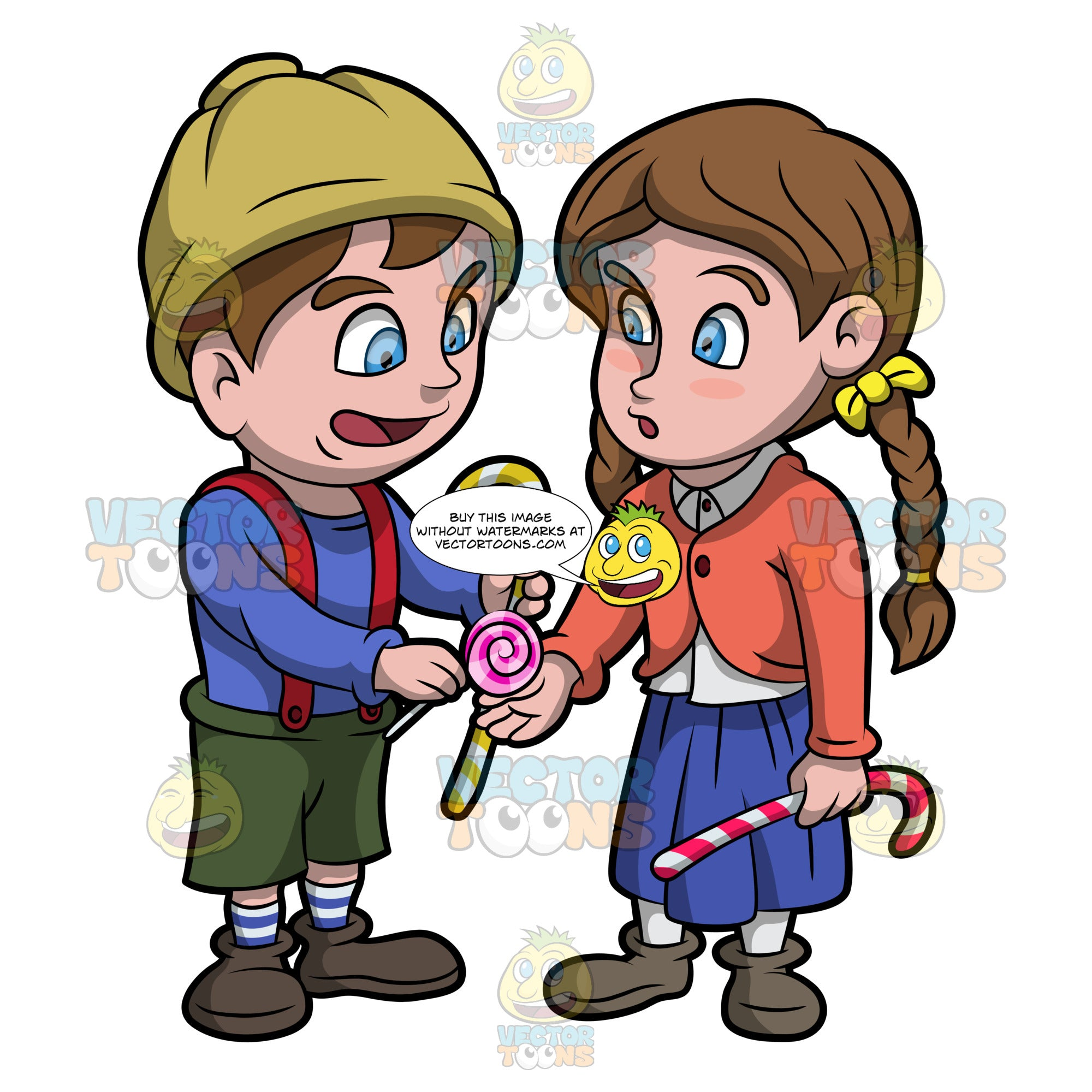 Hansel And Gretel Exchanging Candies