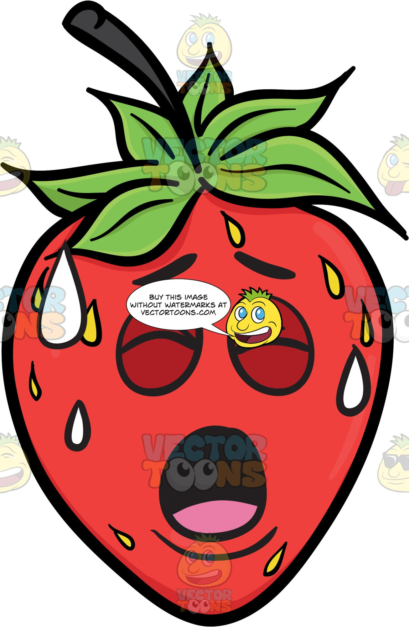 A Strawberry Fruit Sweating In Pain